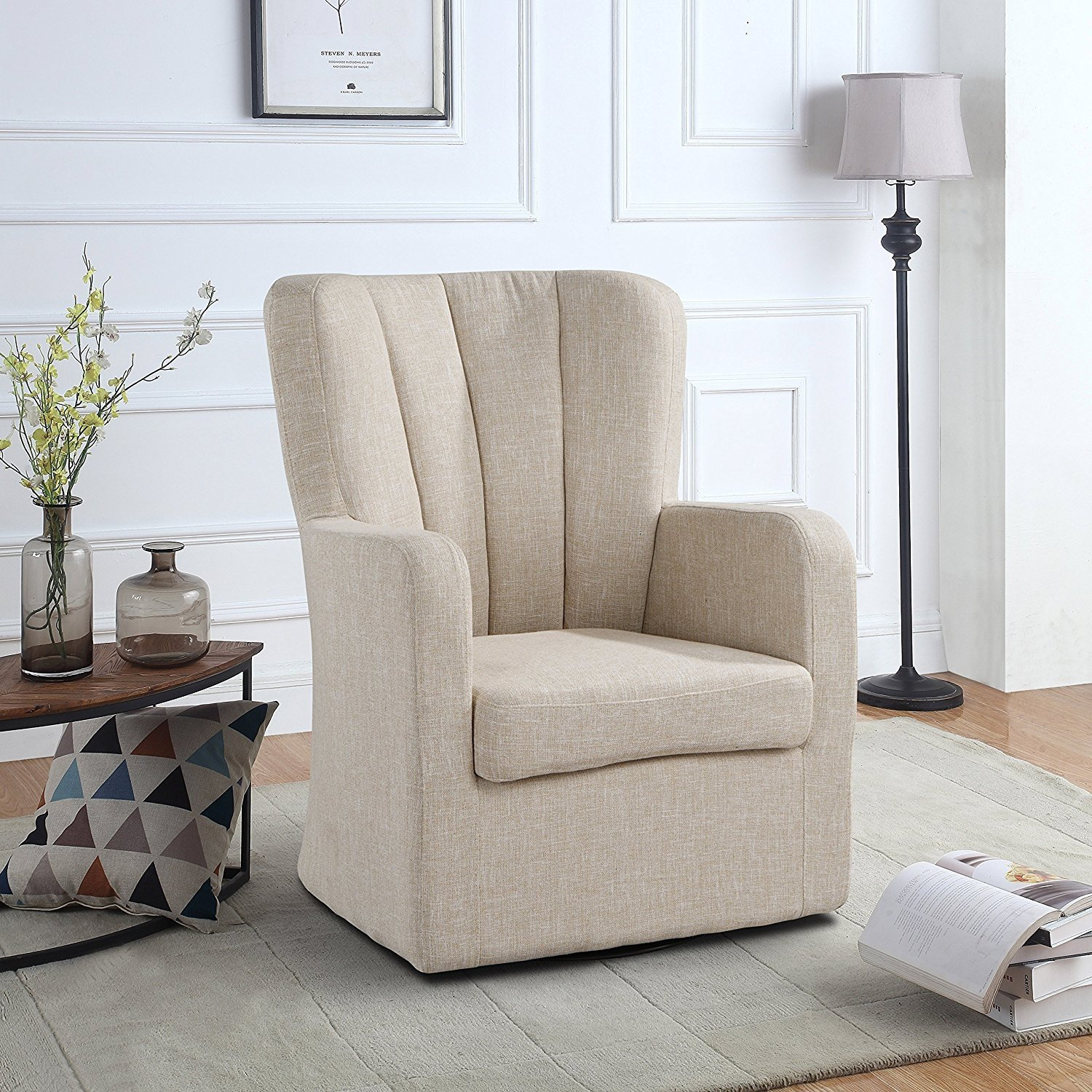 Picture of: Modern Swivel Armchair Rotating Accent Chair For Living Room With Pleated Back Beige Walmart Com Walmart Com