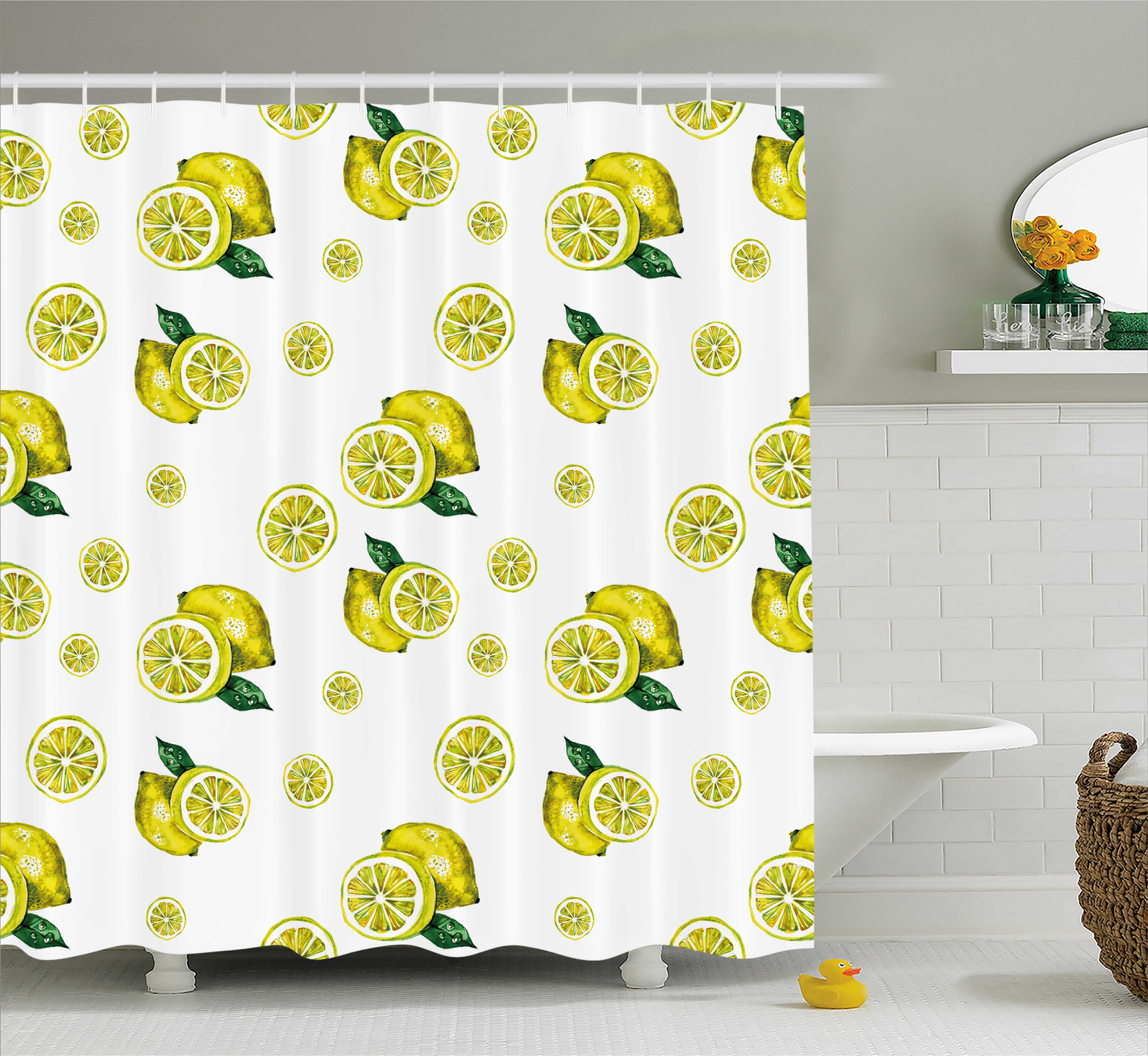 Modern Shower Curtain, Lemon Figures with Slices and Leaves Summer Season Fresh Fruit Watercolor, Fabric Bathroom Set with Hooks, 69W X 70L Inches, Yellow Hunter Green, by Ambesonne