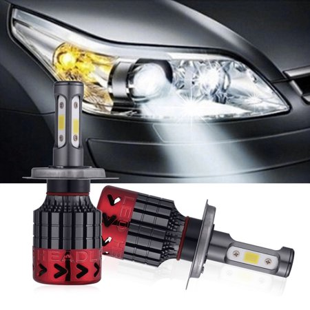 2pcs 80w Car Led Headlight 12v 6000k Cob Chips Fog Light Car Led
