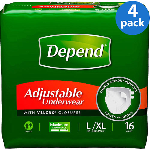 Depend Adjustable Super Plus Absorbency Underwear, Large/X-Large (Pack of 4)