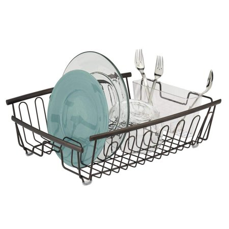 mDesign Large Kitchen Countertop, Sink Dish Drying Rack with Removable Cutlery Tray - Drain and Dry Wine Glasses, Bowls and Dishes - 2 Pieces, Bronze Metal Wire/Clear BPA Free Cutlery