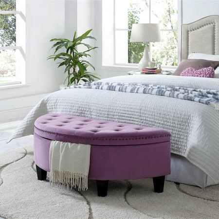 Awe Inspiring Martin Mauve Velvet Storage Ottoman Half Moon Tufted Nailhead By Inspired Home Lamtechconsult Wood Chair Design Ideas Lamtechconsultcom