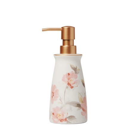SKL Home Misty Floral Lotion/Soap Dispenser (Pink Soap Dispenser)