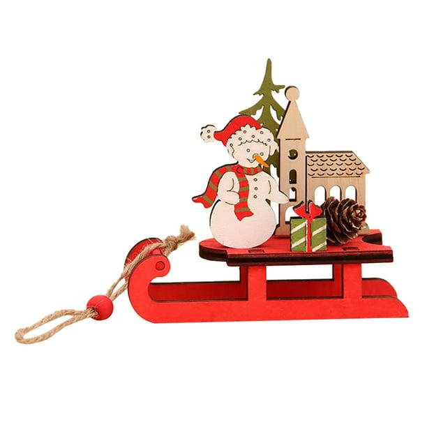 Follure Christmas Decoration Wooden Diy Sleigh Ornaments Creative Combination Decoration Walmart Com Walmart Com