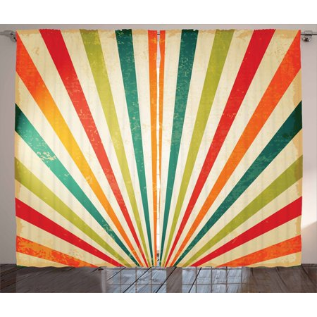 Vintage Rainbow Curtains 2 Panels Set, Vintage Rising Sun Pattern with Colorful Rays Retro Style Illustration, Window Drapes for Living Room Bedroom, 108W X 108L Inches, Multicolor, by (Vintage Style Ray Bans)