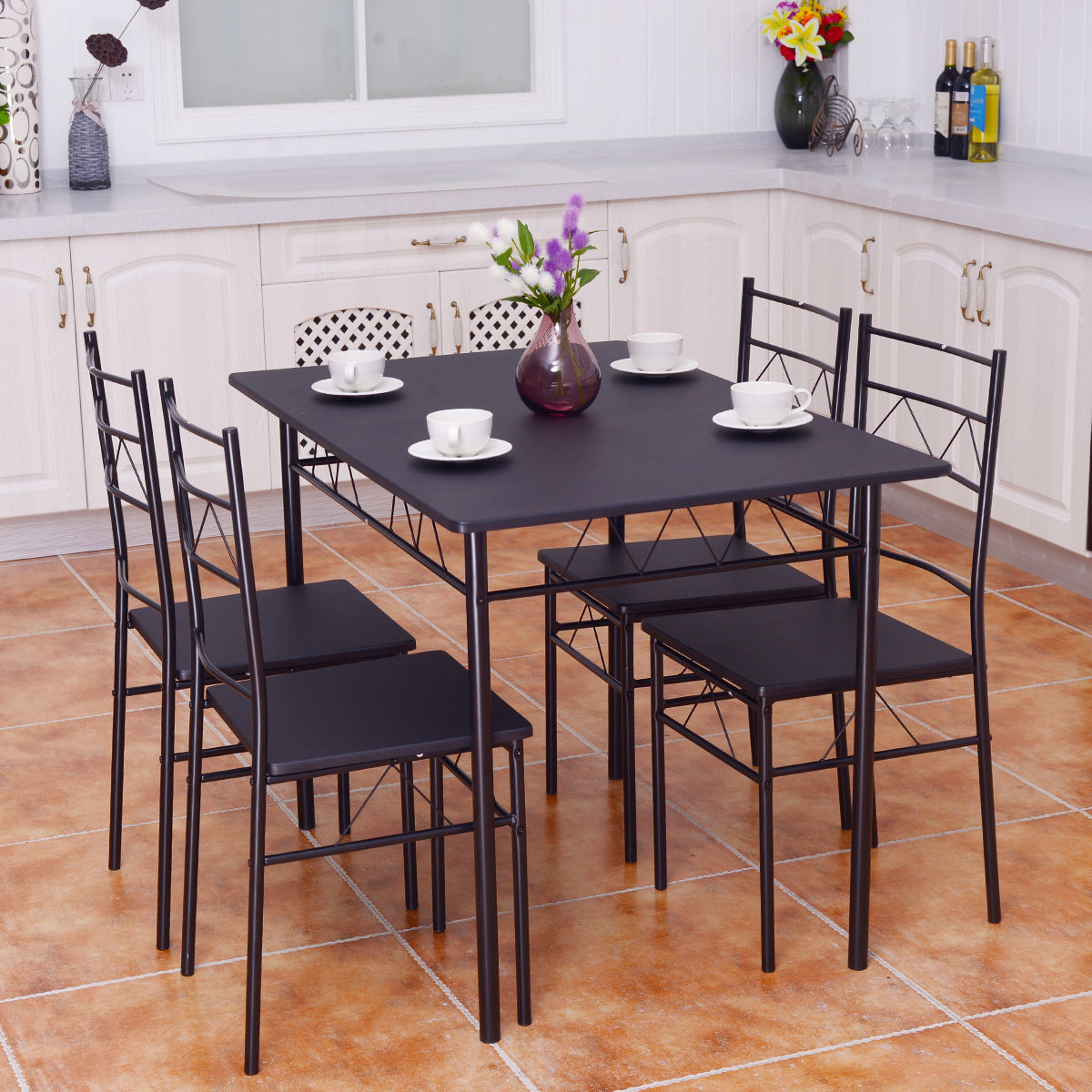 Charming Costway 5 Piece Dining Table Set 4 Chairs Wood Metal Kitchen Breakfast  Furniture Black