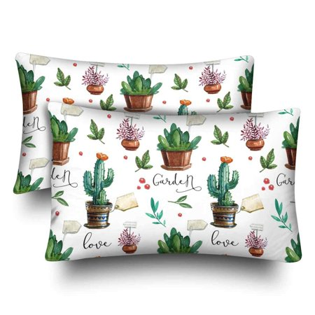GCKG Watercolor Pattern Flower Pots Cactus Leaves Pillow Cases Pillowcase 20x30 inches Set of 2 - image 4 of 4