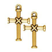 22K Gold Plated Pewter Christian Rope Cross Pendant 20mm (1)
