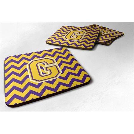 Carolines Treasures CJ1041-GFC Letter G Chevron Purple & Gold Foam Coaster, 3.5 x 0.25 x 3.5 in. - Set of 4 - image 1 of 1