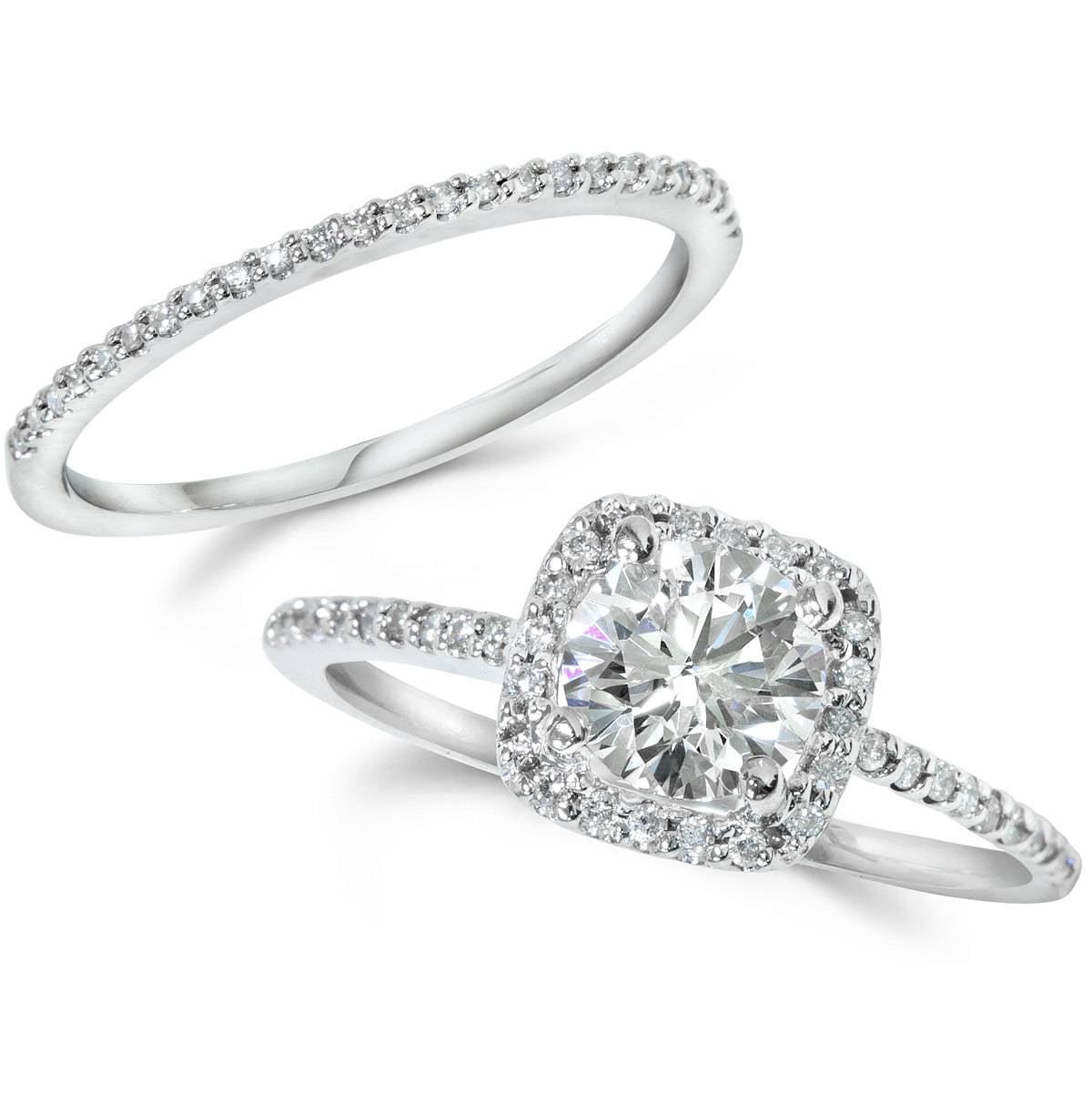 Cushion Halo Diamond 1 ct Engagement Ring Matching Wedding Ring 14K White Gold by Pompeii3