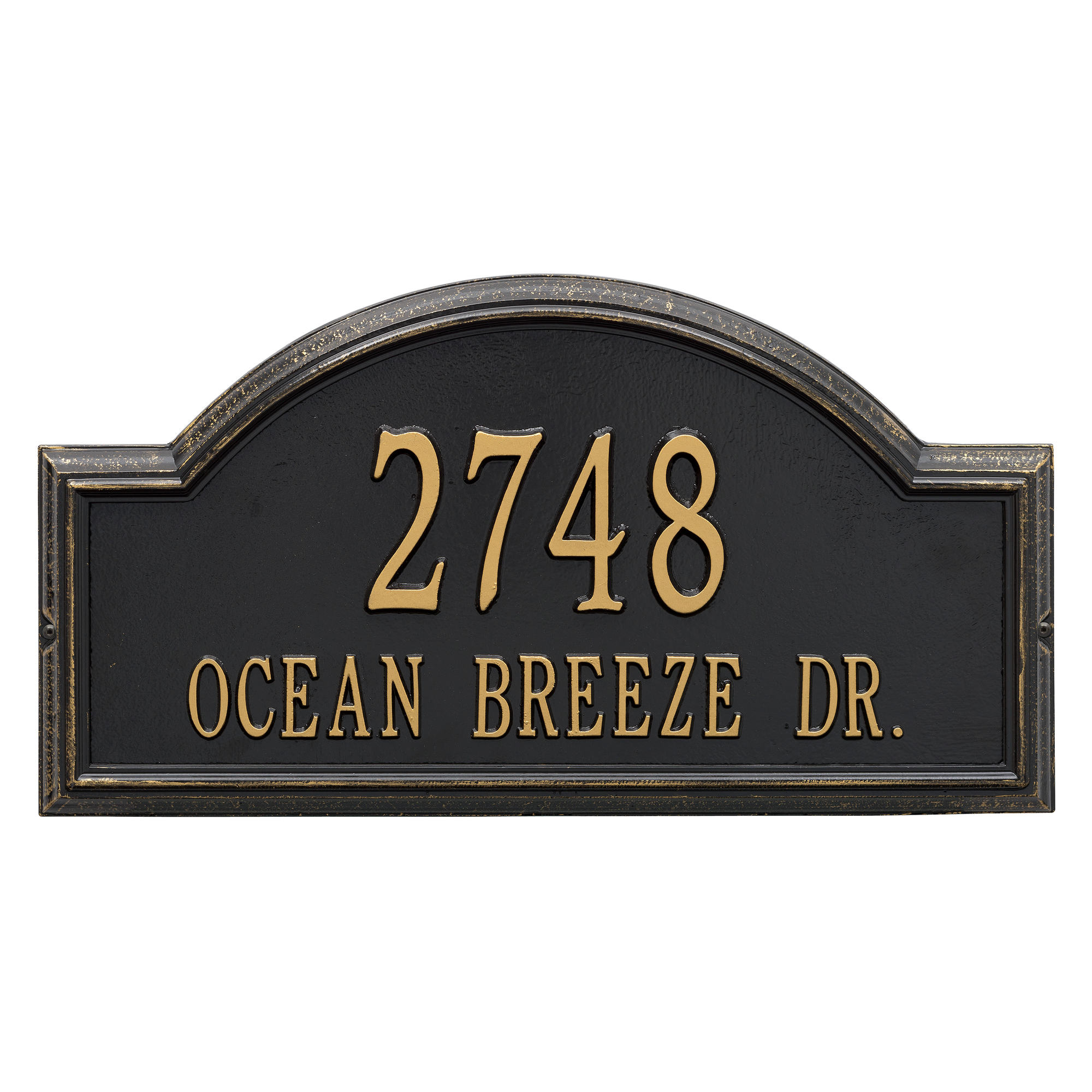 Personalized Whitehall Products Providence 2-Line Arch Address Plaque in Black Gold by Whitehall
