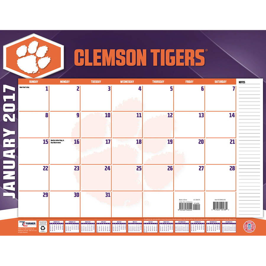 Turner Sports 2017 22 Quot X 17 Quot Desk Calendar Clemson Tigers