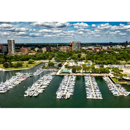 Canvas Print Wisconsin Sky Urban City Marina Milwaukee Clouds Stretched Canvas 10 x 14 - Party City Marina