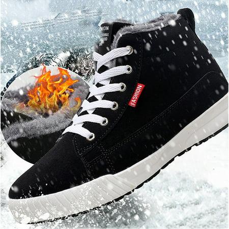 Meigar Men's Winter Fur Warm Sneaker Snow Boot Lace Up Casual Shoes (Beste Brille Für Tennis)