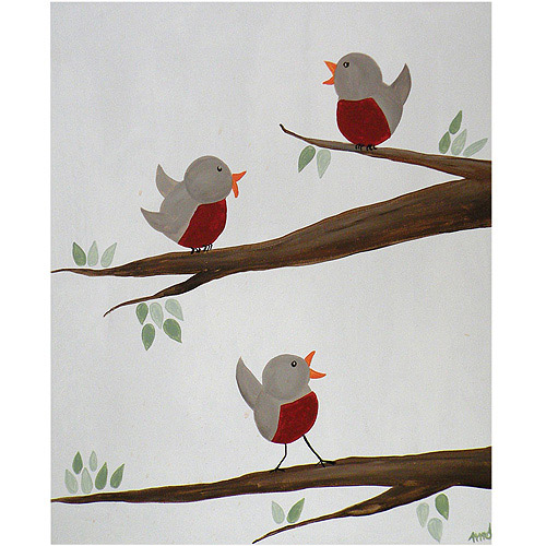 "Trademark Art ""Red Robins II"" Canvas Art by Nicole Dietz, 26x32"