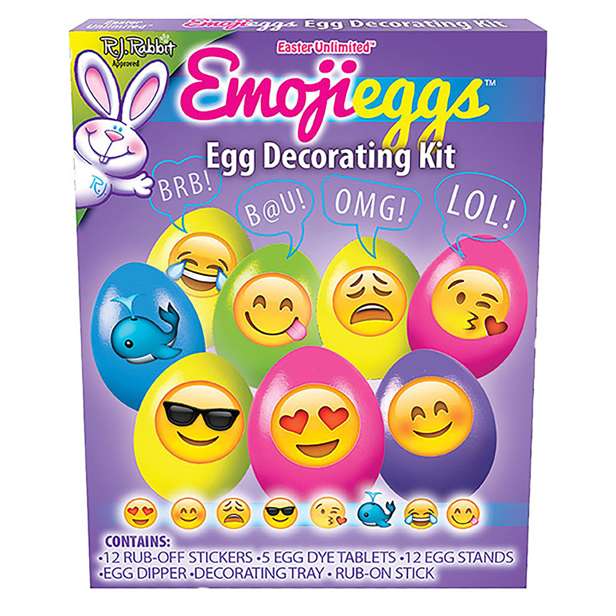 """Easter Unlimited Emoji Texting Easter Eggs Deco 11pc 9"""" Egg Decorating Kit"""
