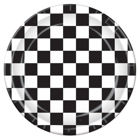 The Beistle Company Checkered Paper Dessert Plate - Black And White Checkered Paper Plates