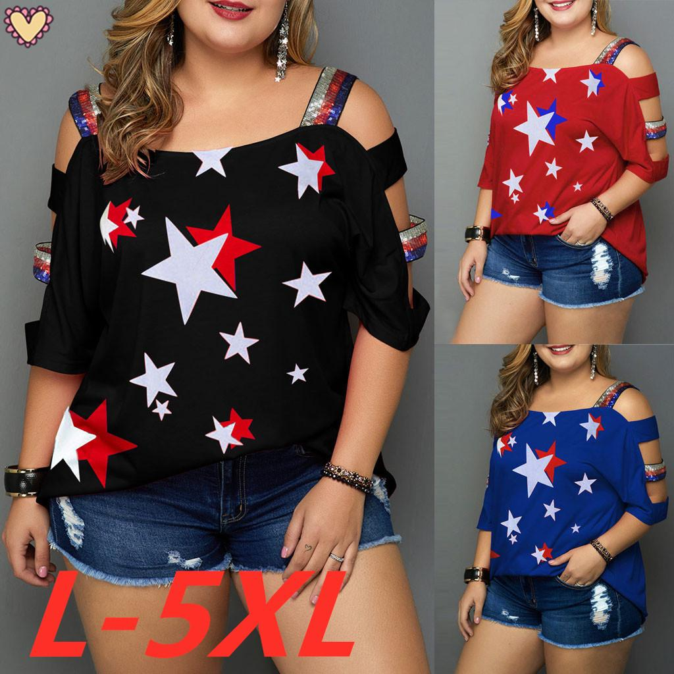 Women Summer Plus Size Casual Flag Print Off Shoulder Slings Sleeve Top T-Shirt
