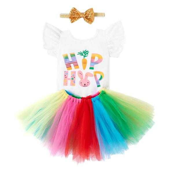 Spring Rainbow tutu and hair clip-custom sewn up to 6x