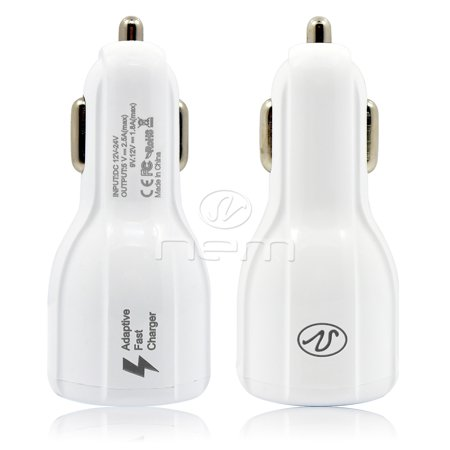 For ZTE Axon 9 Po 2in1 Accessory Kit Car Charger w/ USB-C Power Charging Cable White - image 8 de 9