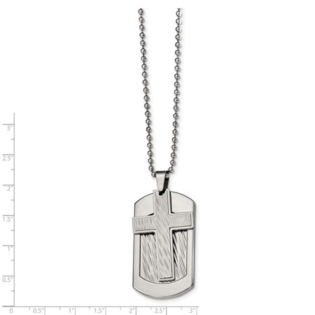 Stainless Steel Polished and Textured Cross and Dog tag Necklace 24in - image 1 de 4
