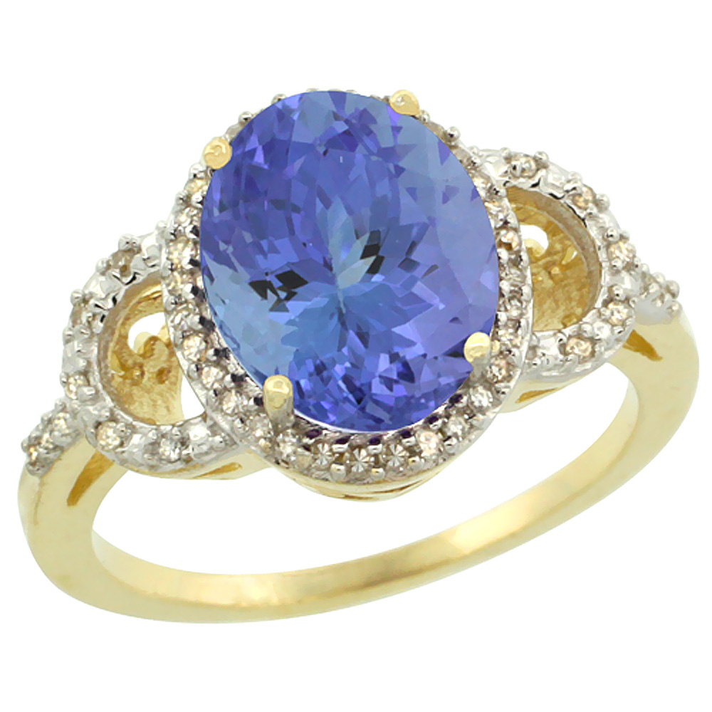 10K Yellow Gold Diamond Natural Tanzanite Engagement Ring Oval 10x8mm, size 6 by Gabriella Gold