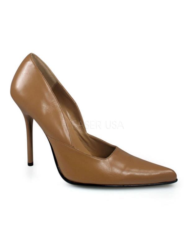 """MIL01/CL/LE Pleaser Single Soles 4"""" Heel Shoes CAMEL Size: 5"""