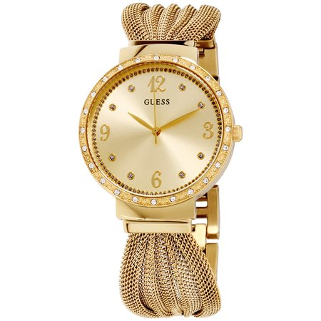 Guess Chiffon Gold Dial Stainless Steel Ladies Watch W1083L2 Guess Logo Dial Watch
