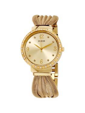 Guess Chiffon Gold Dial Stainless Steel Ladies Watch W1083L2