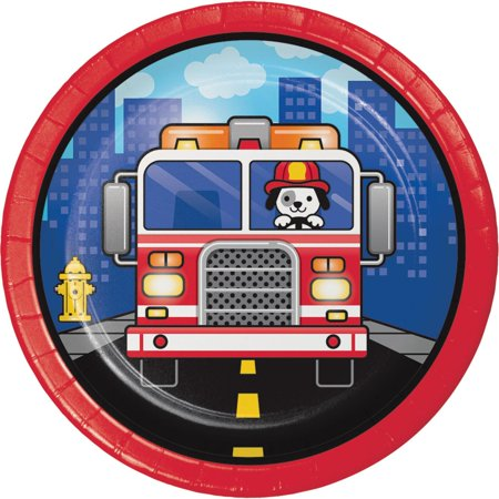 Club Pack of 96 Blue and Red Flaming Fire Truck - Dinner Plate 6.8