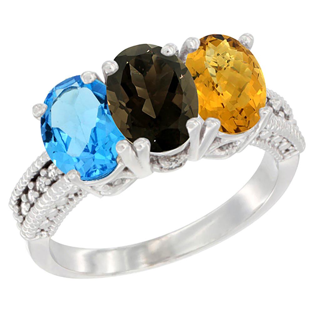 10K White Gold Natural Swiss Blue Topaz, Smoky Topaz & Whisky Quartz Ring 3-Stone Oval 7x5 mm Diamond Accent, sizes 5 10 by WorldJewels
