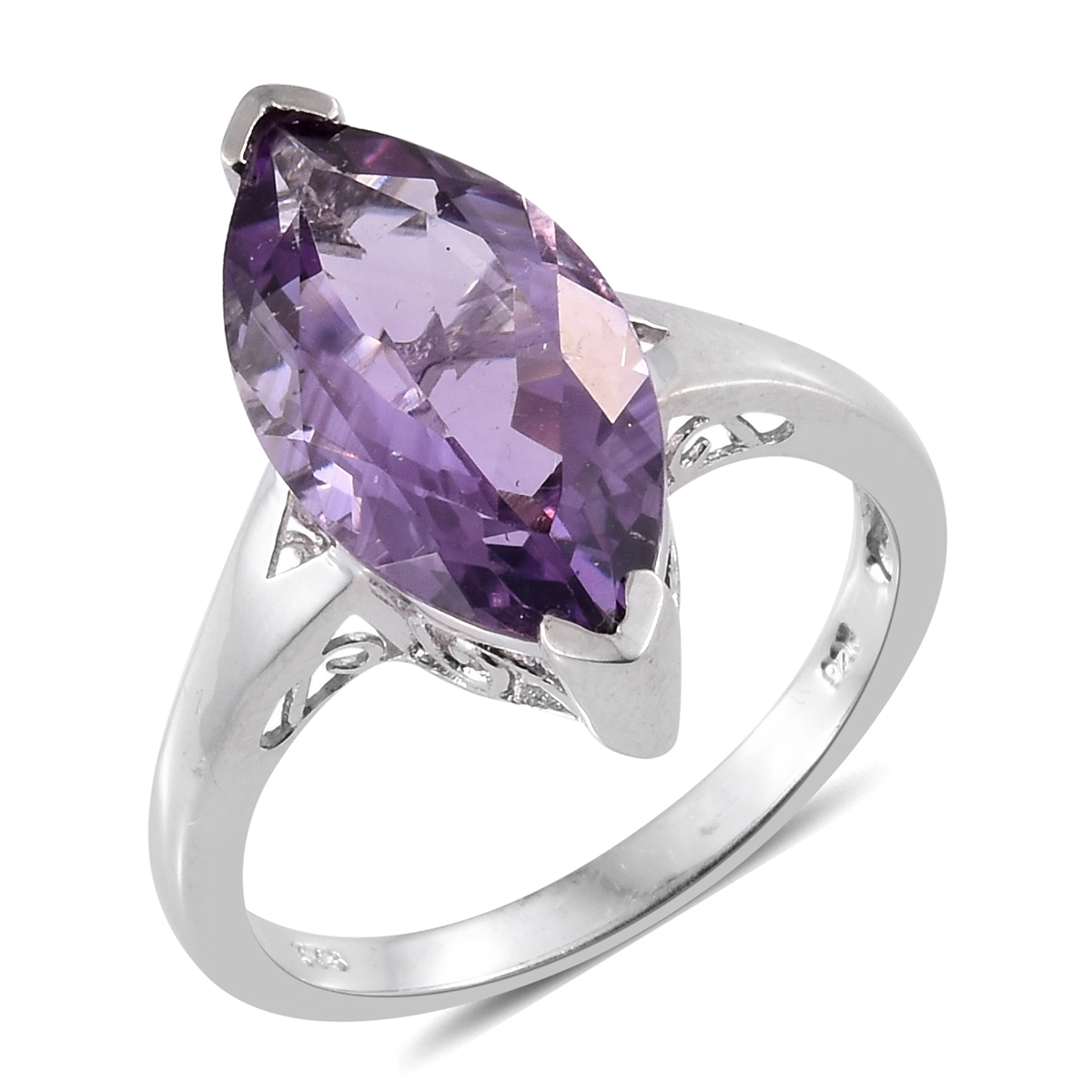 Rose De France Amethyst Platinum Plated Silver Marquise Solitaire Split Ring 5.9 cttw by Shop LC