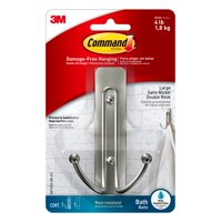 Command Double Bath Hook, Satin Nickel, Large, 1 Hook, 1 Strip