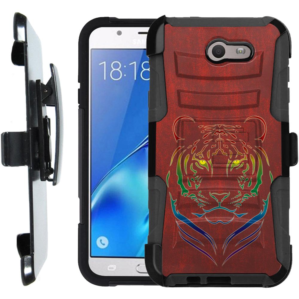 Holster Case for Samsung Galaxy J7 V / J7 Perx / J7 Sky Pro, OneToughShield ® Dual Layer Phone Case (Black) w/ Kick Stand - Night Tiger