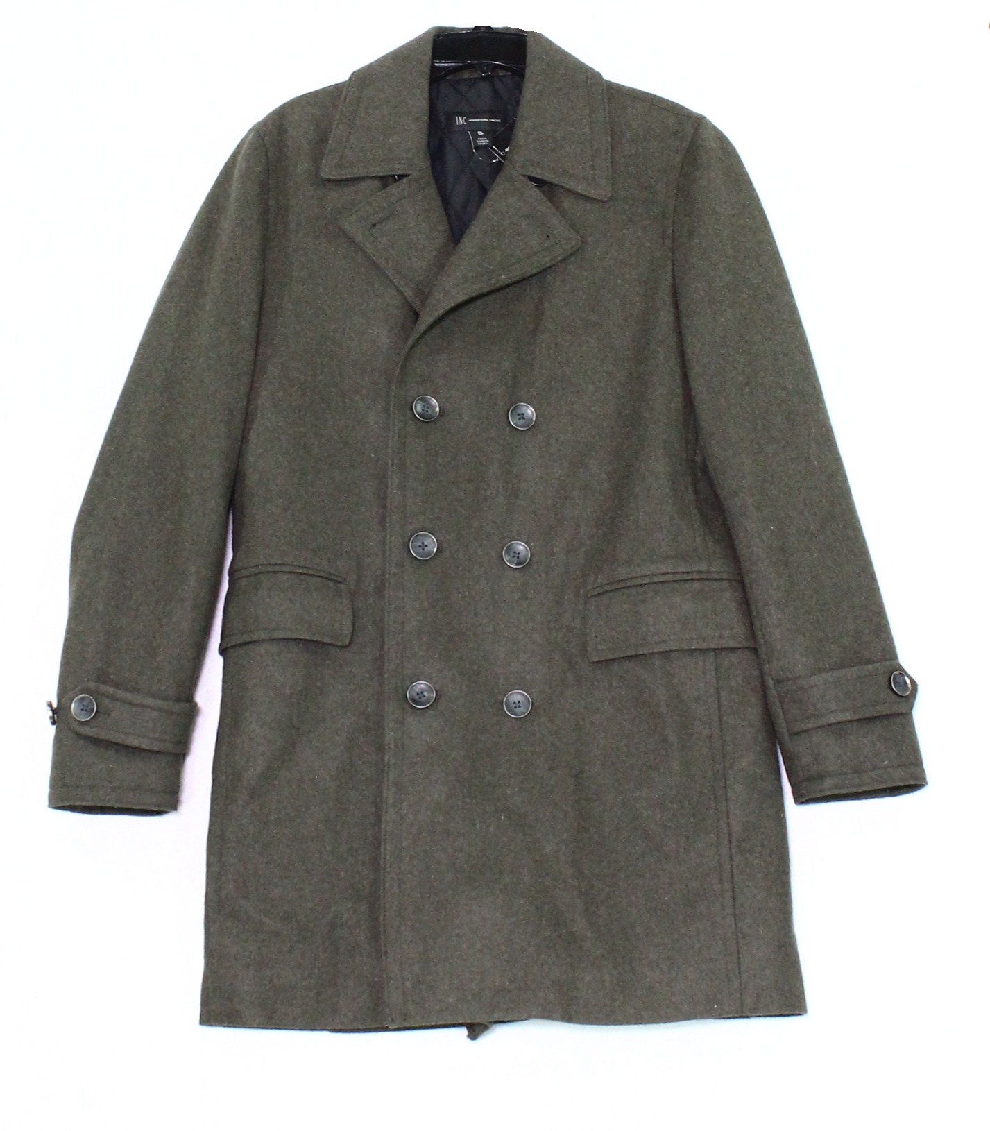 INC New Green Loden Men's Size Small S Double Breasted Coat Wool by Inc