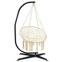 Costway C Hanging Hammock Stand Cotton Macrame Swing Chair Backrest