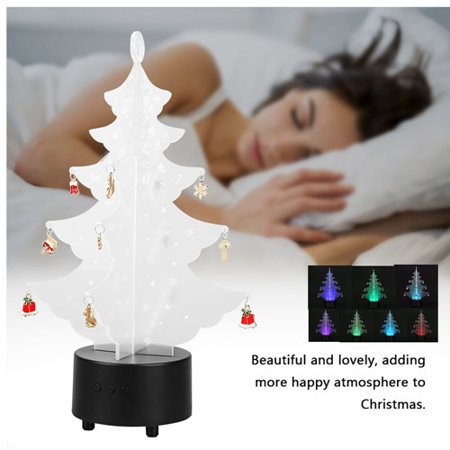 Acrylic Modern Table Lamp - Zerone Acrylic Transparent 3D Christmas Tree Night Lamp 7 Color LED Modern Nightlight Table Desk USB Lamp,Christmas Tree Table Light