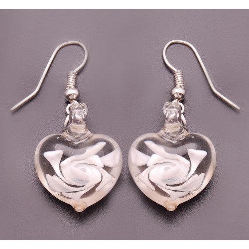 Bleek2Sheek True Hope Murano Swirl Heart Drop Earrings
