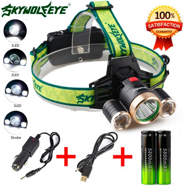Huppin's4Modes 9000Lm 3X XML T6+2R5 LED Headlamp Head Light Torch USB 18650+Car Charger