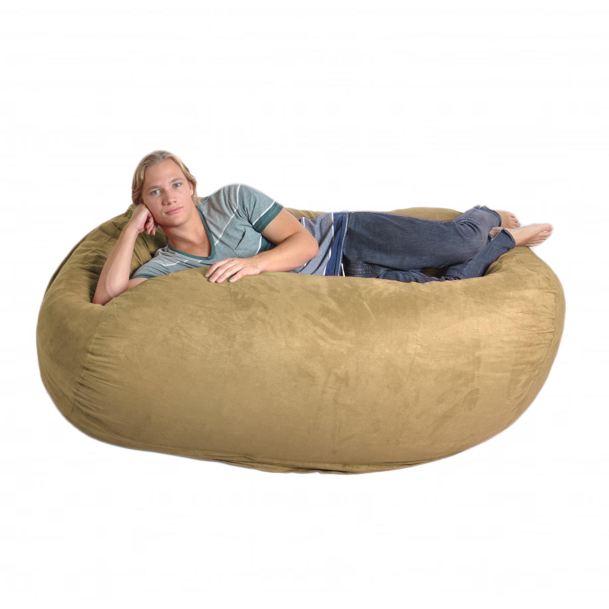 Slacker Sack Oval 6-foot Light Brown Microfiber and Memory Foam Bean Bag