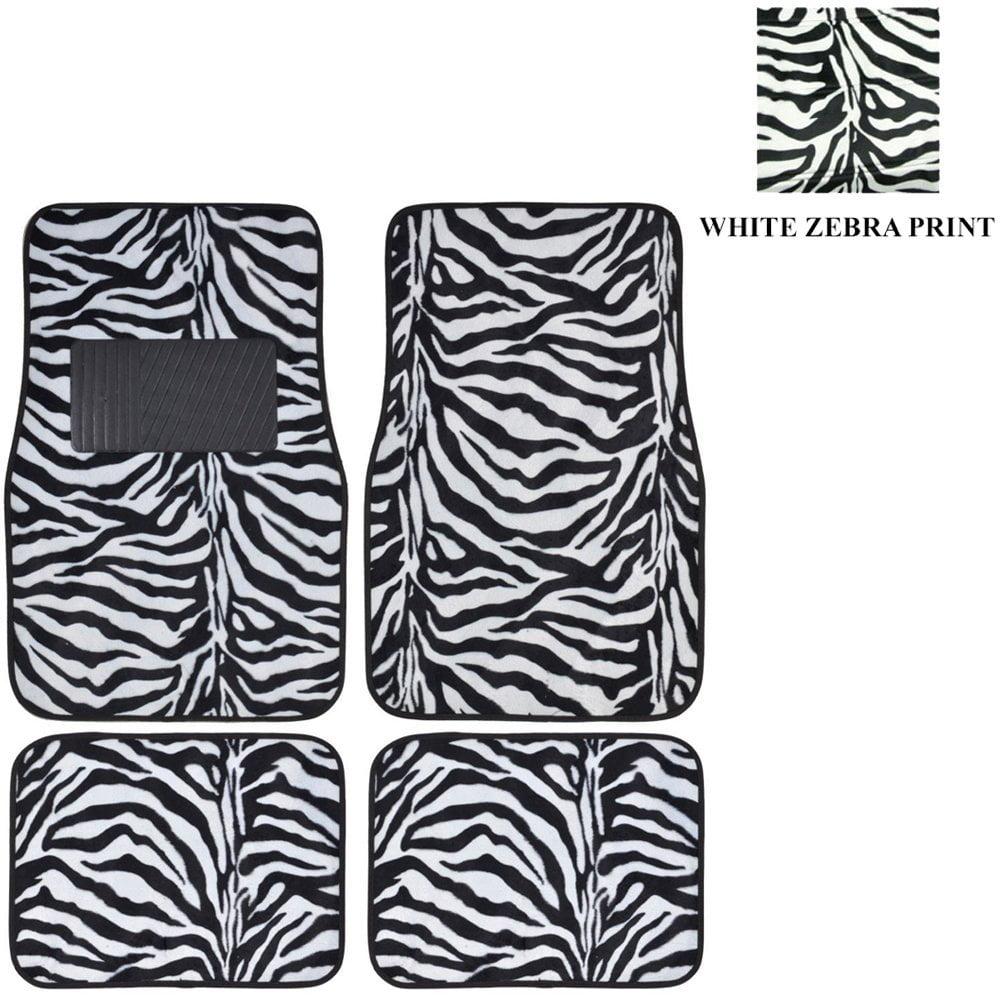 White Zebra with Black Stripes Animal Prar Truck SUV Carpet Car Floor Mats - 4PC