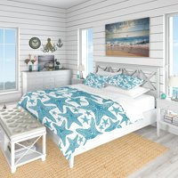 DESIGN ART Designart 'Pattern of Blue Starfish' Coastal Bedding Set - Duvet Cover & Shams