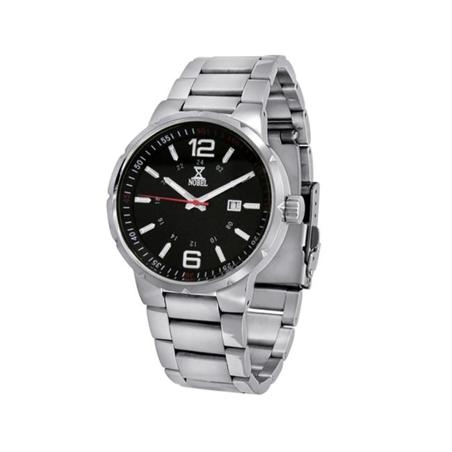 NobelWatchCo EZ 625 GR Black-Red Stainless Watch