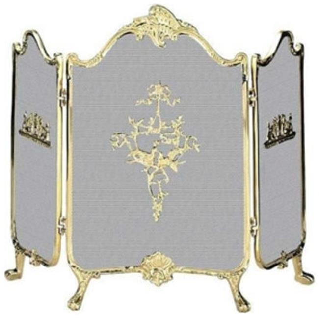 UniFlame S-9099 Three Panel Fold Ornate Fully Cast Solid Brass Screen