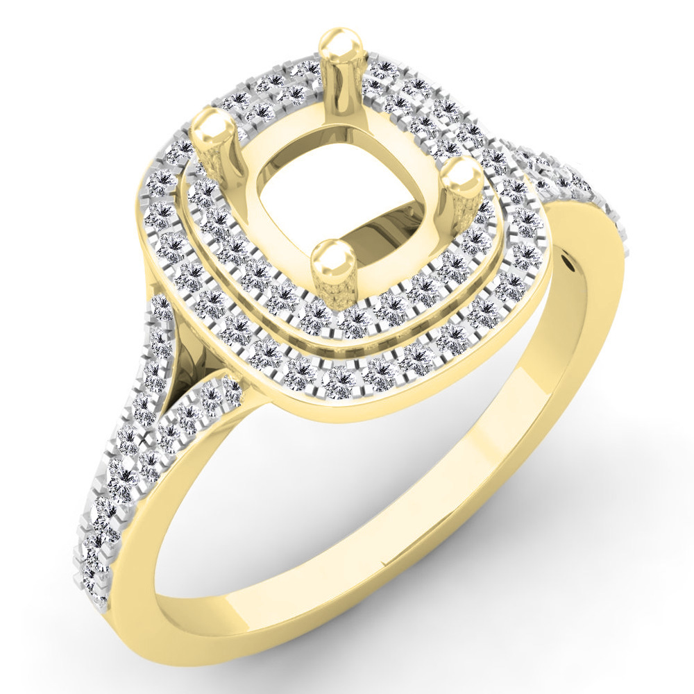 Engagement Rings No Stone: 0.50 Carat (ctw) 18K Yellow Gold Round White Diamond