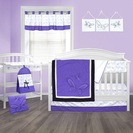 Pam Grace Creations Purple Butterfly 10 Piece Crib Bedding Set by Pam Grace Creations ()