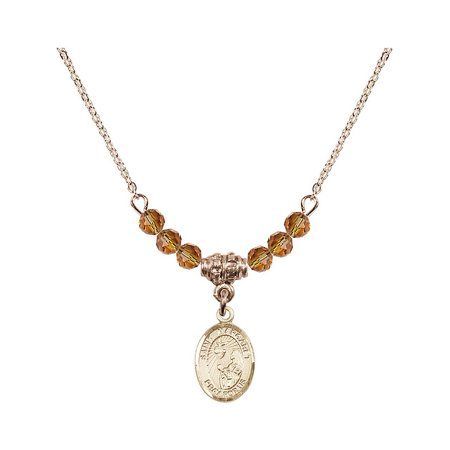 18-Inch Hamilton Gold Plated Necklace with 4mm Yellow November Birth Month Stone Beads and Saint Margaret Mary Alacoque Charm