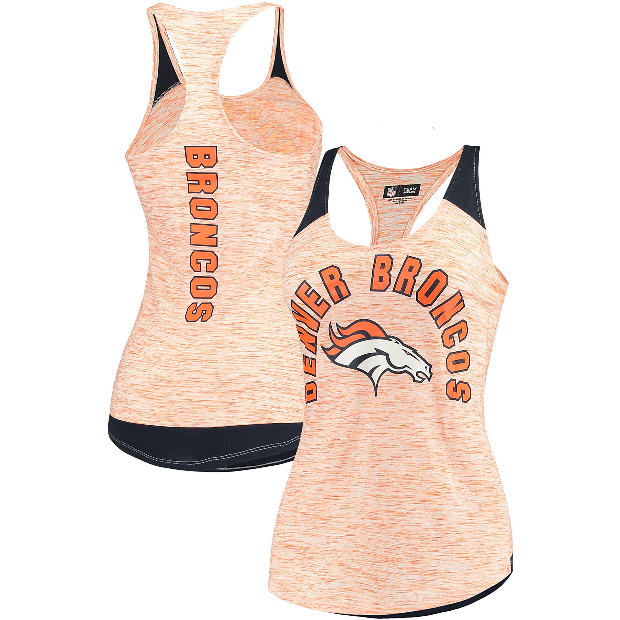 Denver Broncos 5th & Ocean by New Era Women's Space Dye Racerback Tank Top - Heathered Orange/Navy