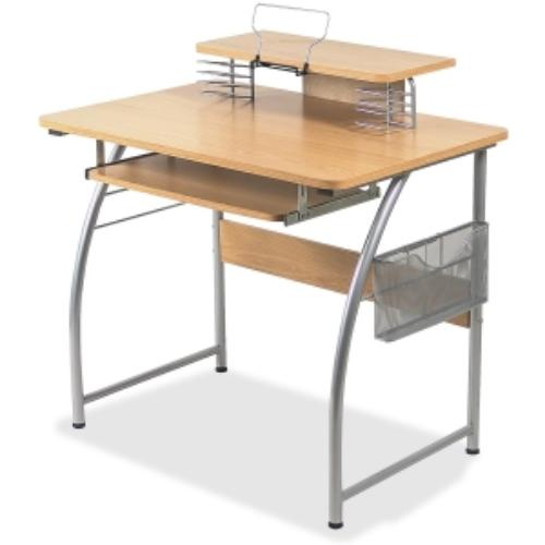 "Lorell Upper Shelf Laminate Computer Desk - Rectangle - 23.60"" X 35.40"" X 35.2"" - Metal, Steel - Maple (llr-14337)"
