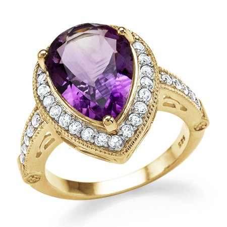 5.20 Ct Genuine Amethyst & White Topaz Cocktail Ring in 14K Yellow Gold / Silver